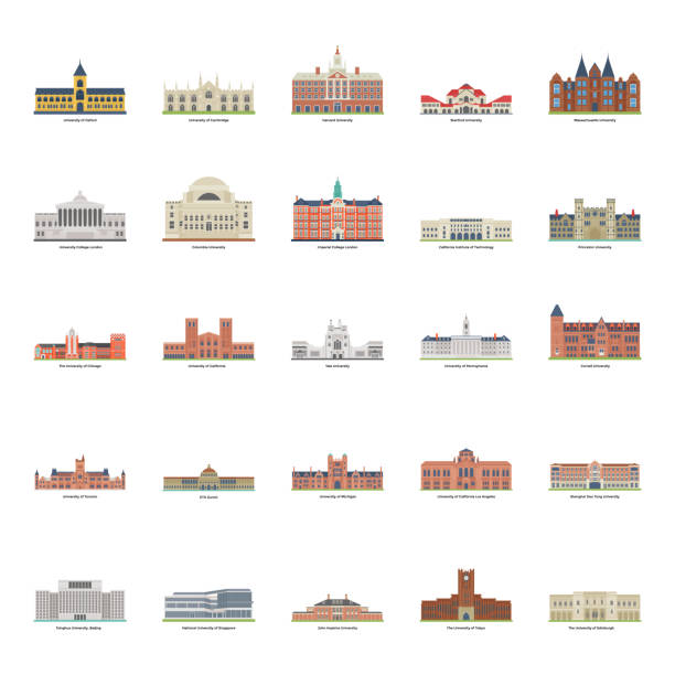 World Famous Universities Illustration Pack Universities illustrations set having charming visuals of your needs. Icons are editable that you can easily utilize in relevant niches ivy league university stock illustrations