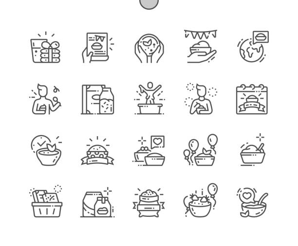 ilustrações de stock, clip art, desenhos animados e ícones de world festival of oatmeal well-crafted pixel perfect vector thin line icons 30 2x grid for web graphics and apps. simple minimal pictogram - eating