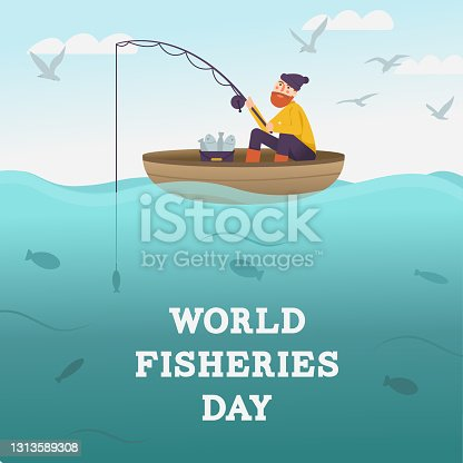 World Fisheries Day. Fisherman with fishing rod on boat at the sea. Fisher catching fish. Fishes underwater and seagull in sky. Card or poster with cartoon character. Vector flat banner.
