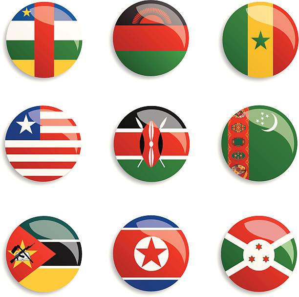 ilustraciones, imágenes clip art, dibujos animados e iconos de stock de botones de bandera mundo - bandera coreana