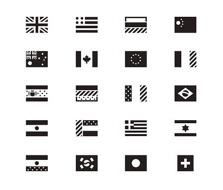World Flag icons on white background. Vector illustration