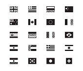 Set of World Flags vector icons on white background. USA, United Kingdom, European Union. Vector illustration.