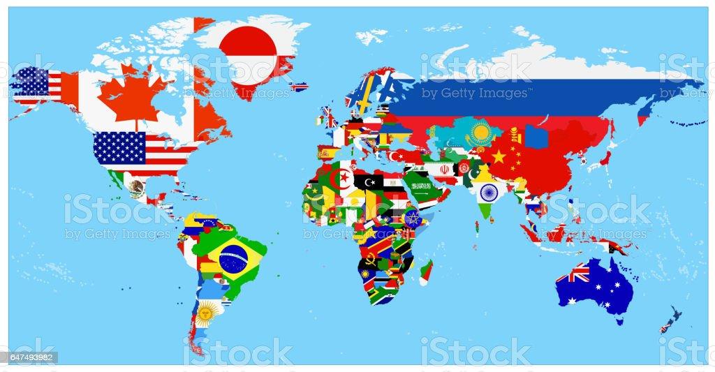 Karta Varlden Europa.Karta Over Varlden Och Flagga Med En Bla Bakgrund Vektorgrafik Och
