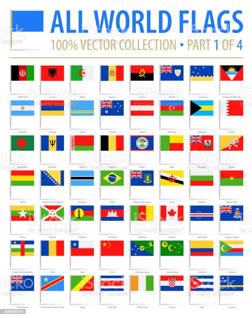 Pins de la bandera del mundo - Vector Icons planas - parte 1 de 4 - ilustración de arte vectorial