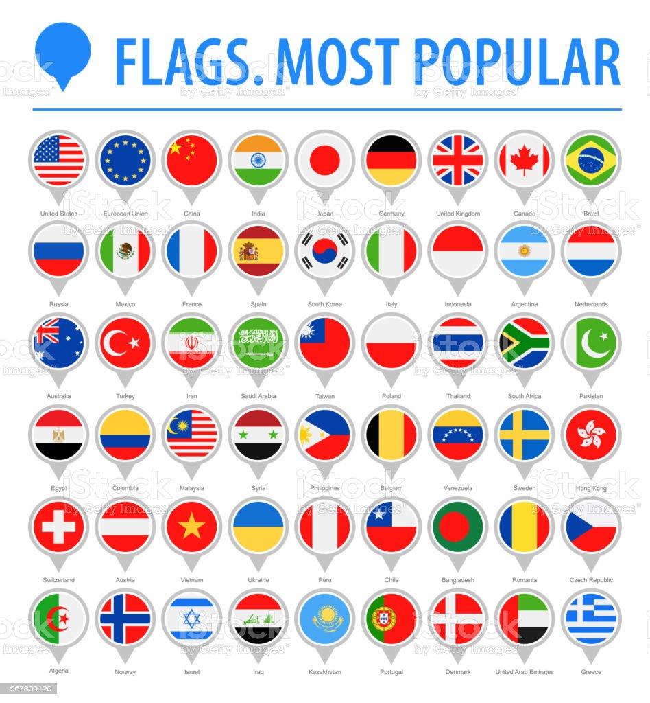 世界フラグ丸ピン - ベクトル フラット アイコン - 最も人気のあります。 ベクターアートイラスト