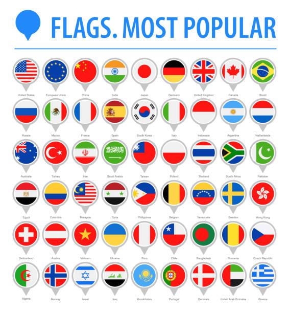 世界フラグ丸ピン - ベクトル フラット アイコン - 最も人気のあります。 - メキシコの国旗点のイラスト素材/クリップアート素材/マンガ素材/アイコン素材