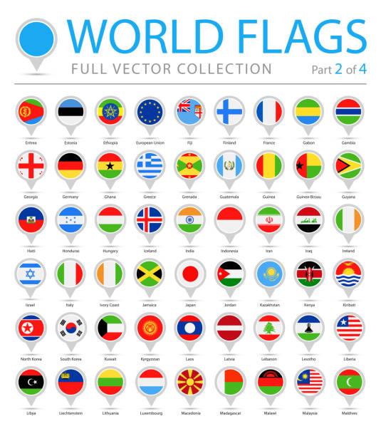 4 ピン - ベクトル フラット アイコン - パート 2 ラウンド世界フラグ - ドイツの国旗点のイラスト素材/クリップアート素材/マンガ素材/アイコン素材