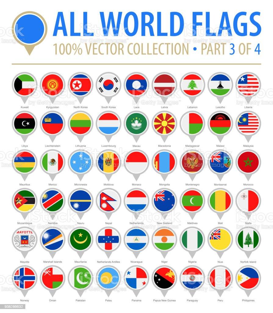 Bandeira do mundo redondo pinos - Vector Icons plana - parte 3 de 4 - ilustração de arte em vetor