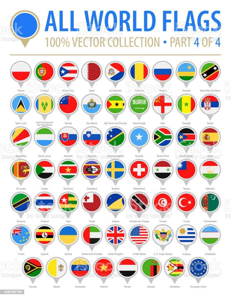 4 ピン - ベクトル フラット アイコン - パート 4 ラウンド世界フラグ ベクターアートイラスト