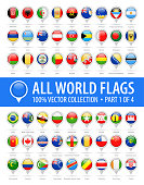 World Round Flag Pins - Vector Glossy Icons - Part 1 of 4