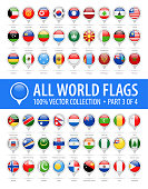 World Flag Round Pins - Vector Glossy Icons - Part 3 of 4