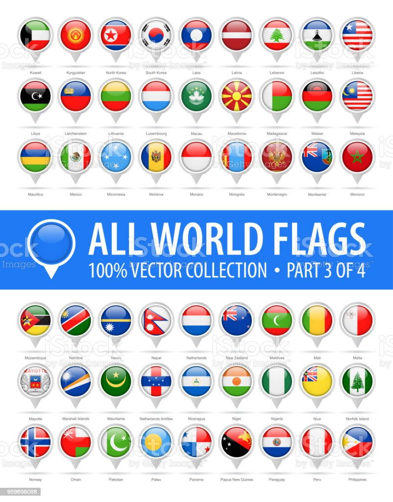 World Flag Round Pins - Vector Glossy Icons - Part 3 of 4 vector art illustration