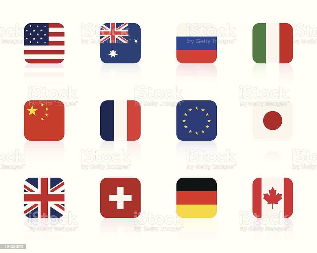 world flags 1 | square vector art illustration