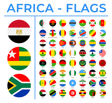 World Flags - Africa - Vector Round Circle Flat Icons