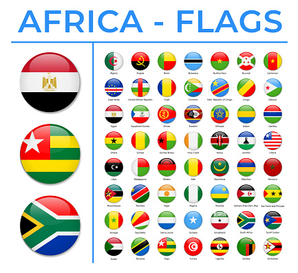 World Flags - Africa - Vector Round Circle Glossy Icons