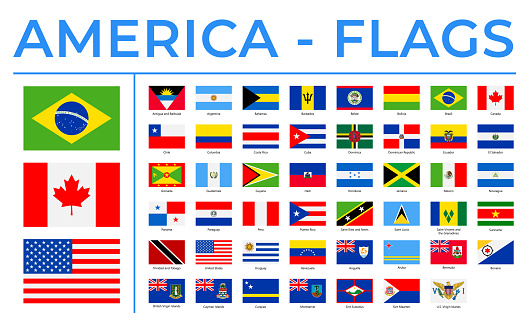 World Flags - America - North, Central and South - Vector Rectangle Flat Icons
