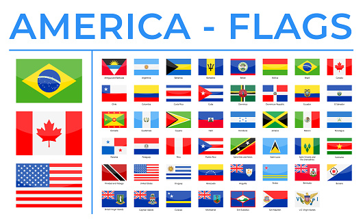World Flags - America - North, Central and South - Vector Rectangle Glossy Icons