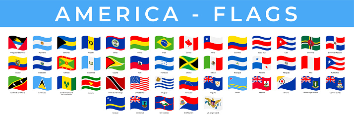 World Flags - America - North, Central and South - Vector Rectangle Wave Flat Icons