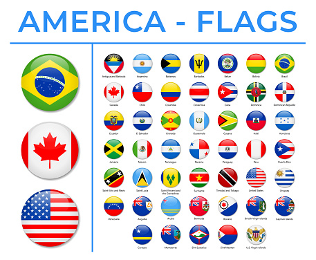 World Flags - America - North, Central and South - Vector Round Circle Glossy Icons