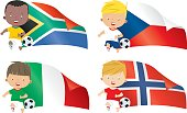 World flags and children soccer