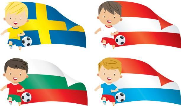 世界のフラグと子供のサッカー - スウェーデンの国旗点のイラスト素材/クリップアート素材/マンガ素材/アイコン素材