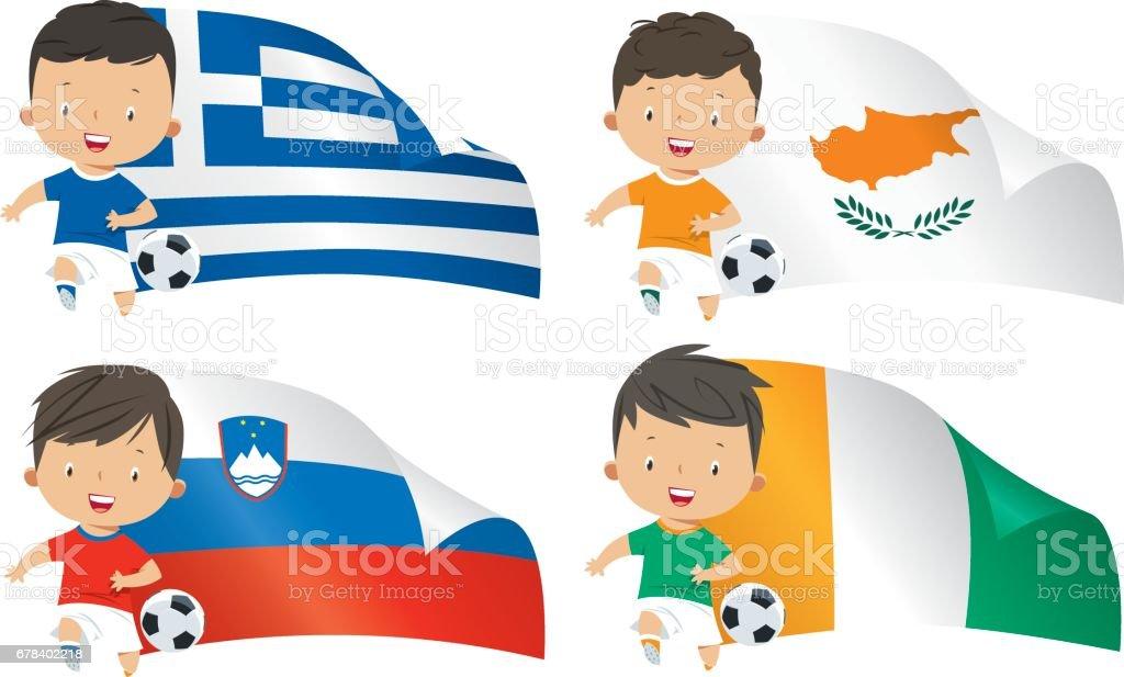 Fahnen Und Kinder Fussball Stock Vektor Art Und Mehr Bilder