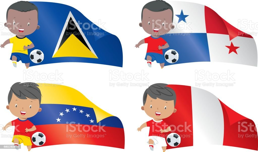 World flags and children soccer vector art illustration