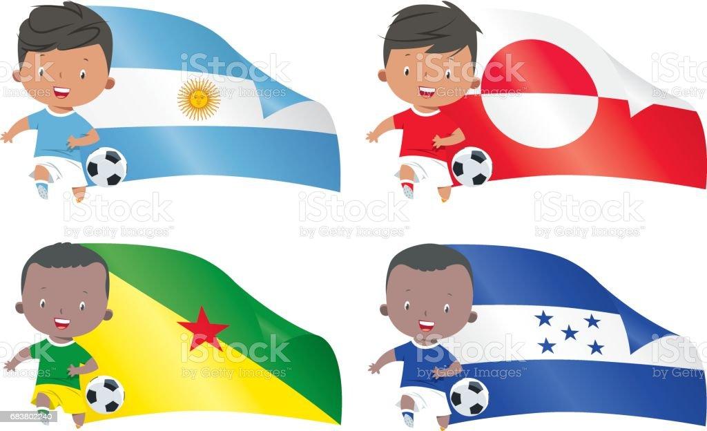 Mundo banderas y niños fútbol - ilustración de arte vectorial
