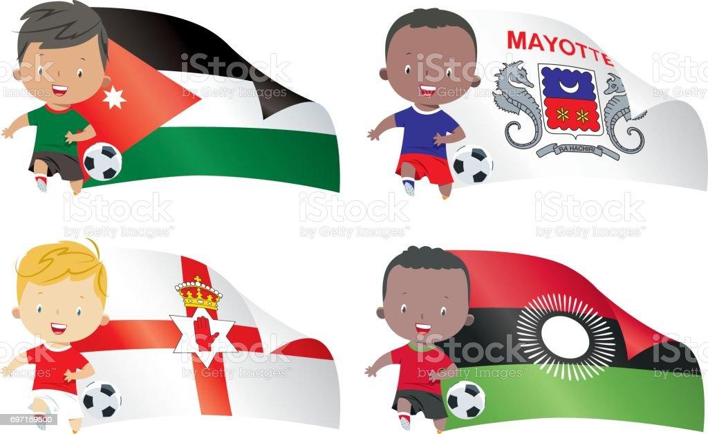 Fahnen Und Kinder Fussball Stock Vektor Art Und Mehr Bilder Von Clipart