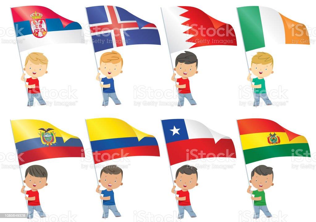 Los niños y banderas del mundo - ilustración de arte vectorial