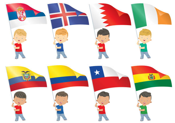 ilustraciones, imágenes clip art, dibujos animados e iconos de stock de los niños y banderas del mundo - bandera de ecuador