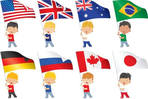 世界のフラグと子供 - ロシアの国旗点のイラスト素材/クリップアート素材/マンガ素材/アイコン素材