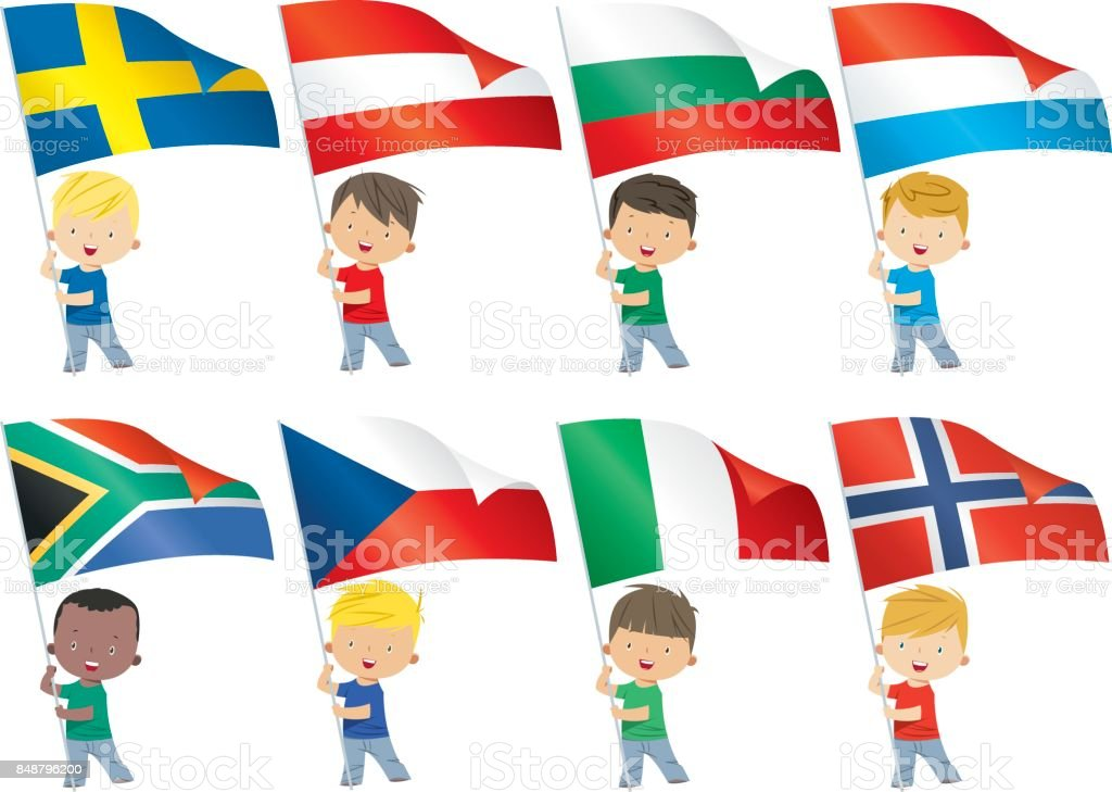 World flags and children vector art illustration