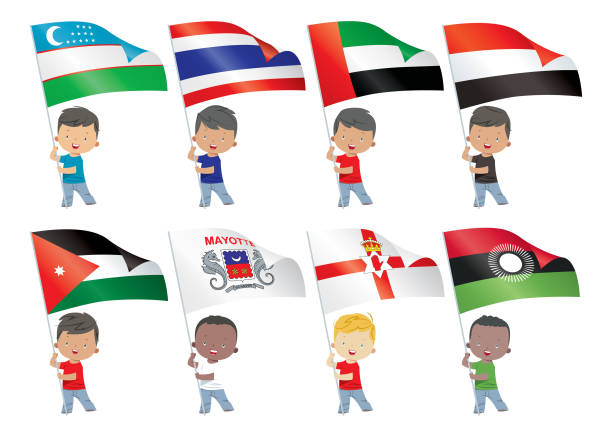 world flags and children - thai flag stock illustrations, clip art, cartoons, & icons