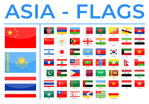 World Flags - Asia - Vector Rectangle Glossy Icons