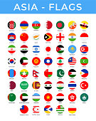 World Flags - Asia - Vector Round Circle Flat Icons