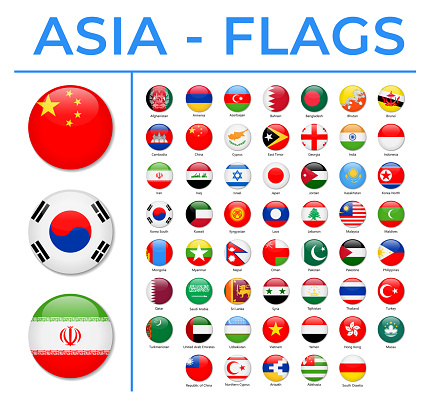 World Flags - Asia - Vector Round Circle Glossy Icons