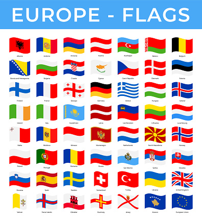 World Flags - Europe - Vector Rectangle Wave Flat Icons