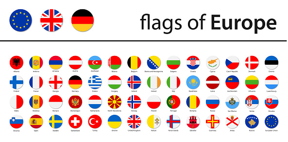 World Flags - Europe - Vector Round Circle Flat Icons