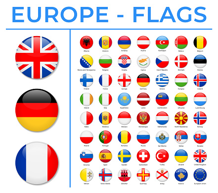 World Flags - Europe - Vector Round Circle Glossy Icons