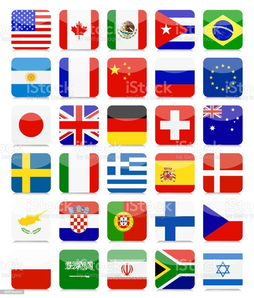 World Flags Flat Square Icon Set vector art illustration