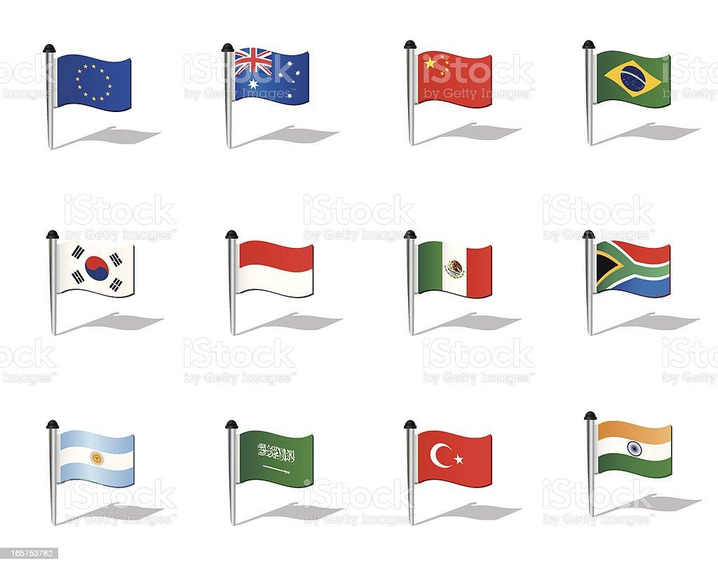 Mundo banderas: Los países del G20 (sin G8 - ilustración de arte vectorial