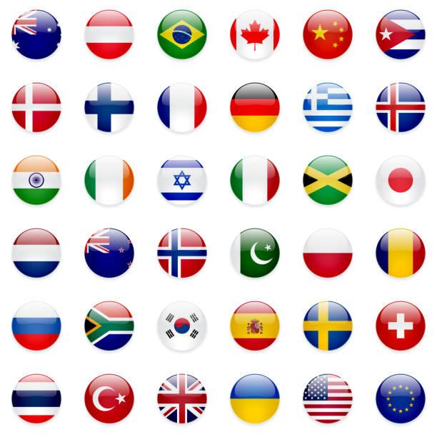 世界の旗のアイコンセット - ユニオンジャックの国旗点のイラスト素材/クリップアート素材/マンガ素材/アイコン素材