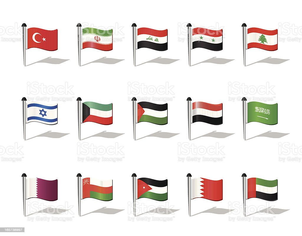 World Flags: Middle East vector art illustration
