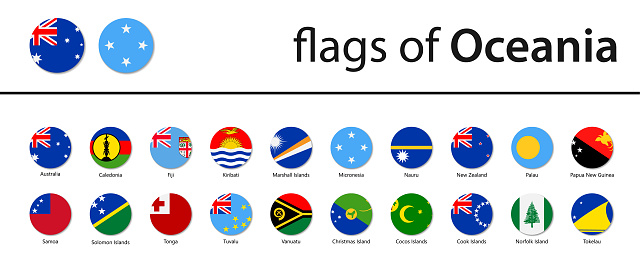 World Flags - Oceania - Vector Round Circle Flat Icons