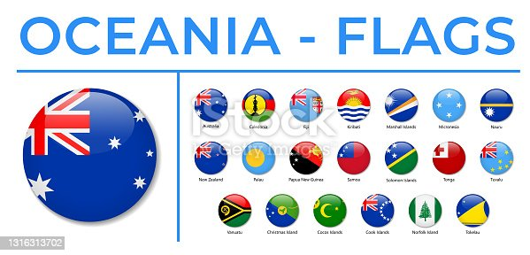 World Flags - Oceania - Vector Round Circle Glossy Icons