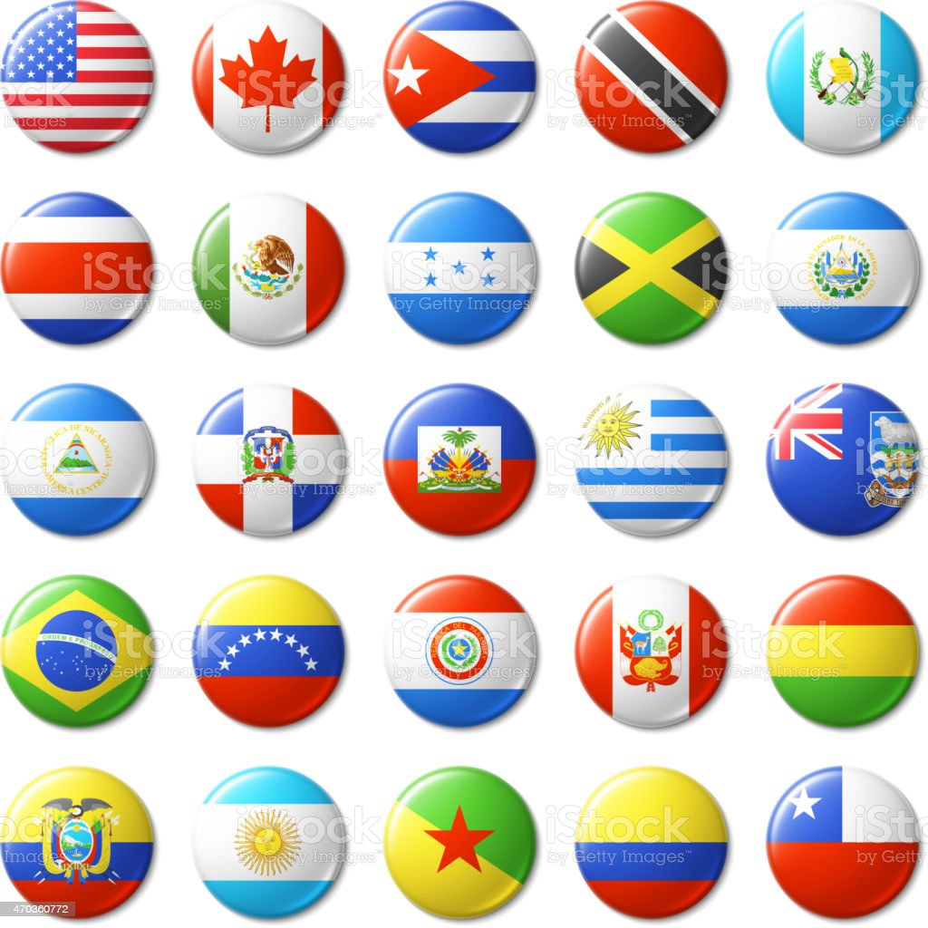 World flags round badges, magnets. North and South America. vector art illustration