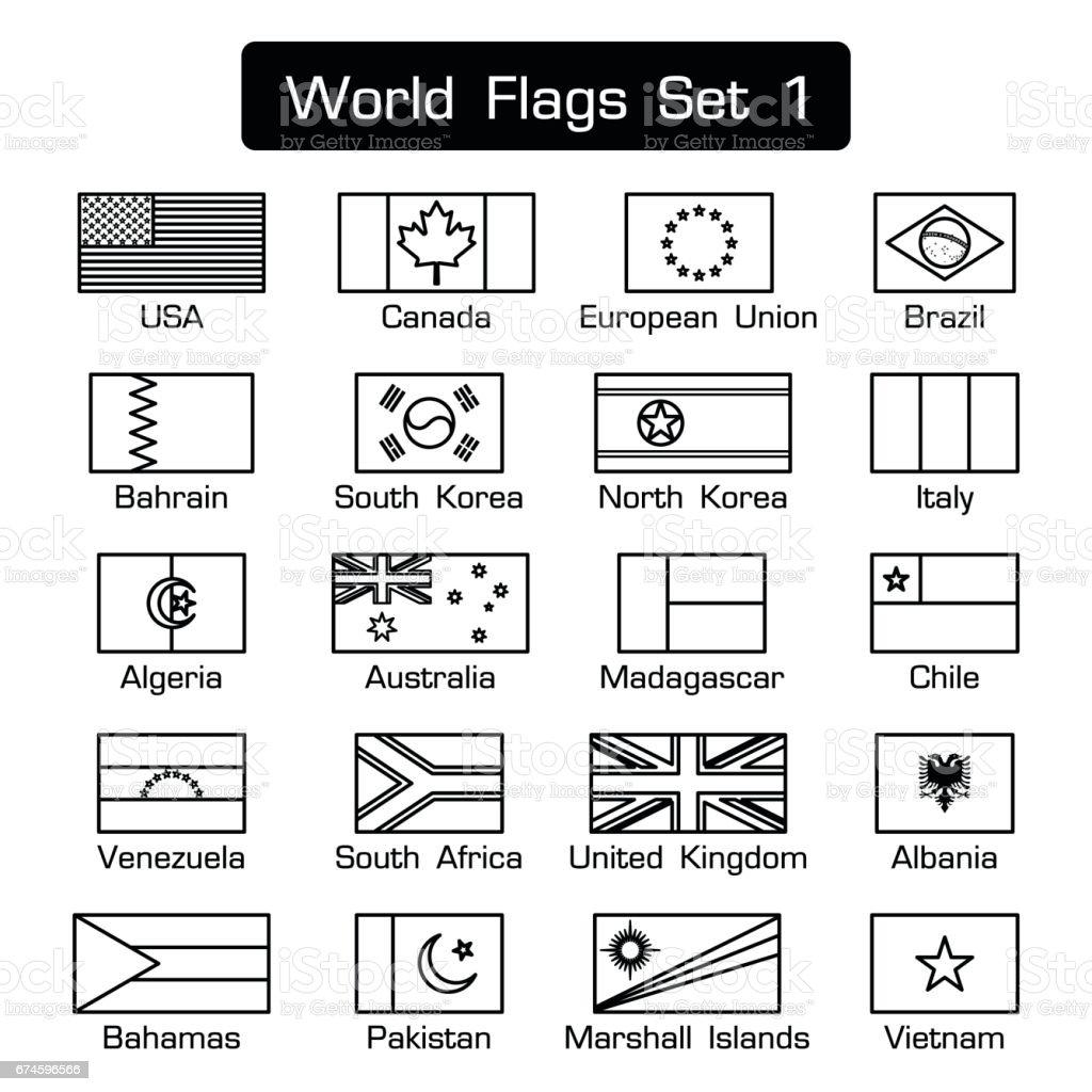 Banderas del mundo grupo 1. estilo simple y diseño plano. contorno grueso. blanco y negro. - ilustración de arte vectorial