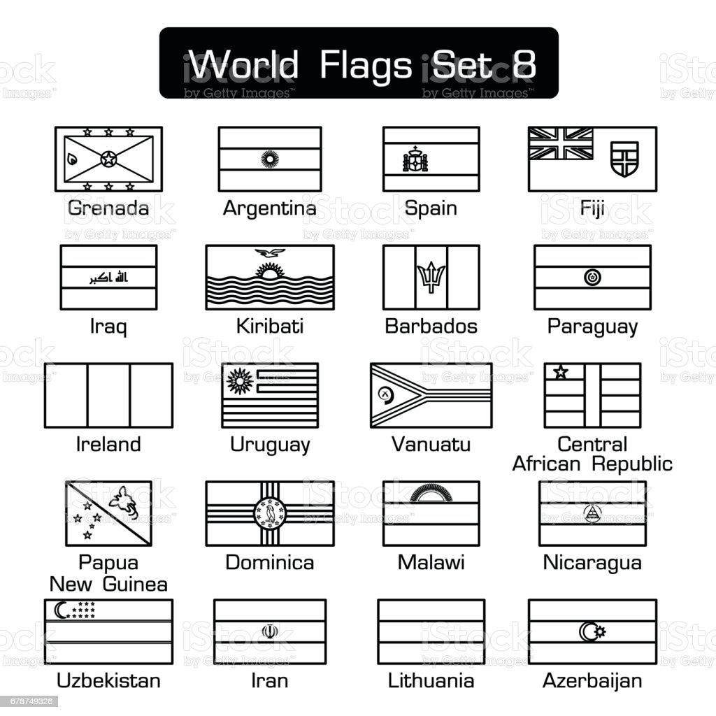 Dünya bayrakları 8 ayarlayın. basit tarzı ve düz tasarım. kalın anahat. royalty-free dünya bayrakları 8 ayarlayın basit tarzı ve düz tasarım kalın anahat stok vektör sanatı & afrika'nin daha fazla görseli