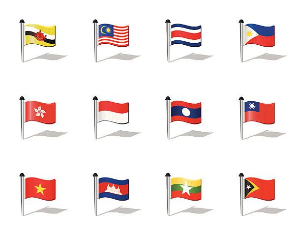 stockillustraties, clipart, cartoons en iconen met world flags: south east asia - indonesische vlag